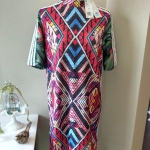 Adidas sz M 3 striped knit dress multi colored